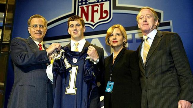 Eli Manning 2004 NFL Draft Chargers Family Photo