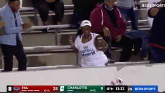 FAU Player Hauls In First Career Interception, Immediately Goes And Celebrates With His Mom In Awesome Video