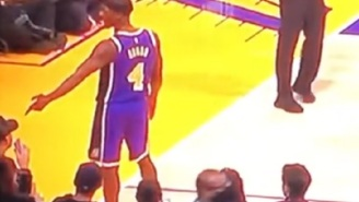 Lakers' Rajon Rondo Points Finger Gun At Fan's Head Sitting Courtside