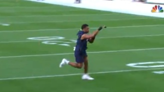 NFL Fans React To Injured Russell Wilson Bizarrely Practicing Plays By Himself Without A Football Before Game