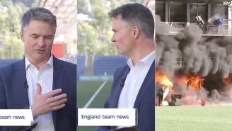 Blazing Fire Breaks Out During Live Broadcast, Reporter Calmly Pivots From Talking About Soccer To Raging Inferno
