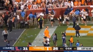 Chaos Ensues As Tennessee Fans Throw Bottles On The Field, Hit Lane Kiffin With A Golf Ball During Ole Miss-Tenn Game